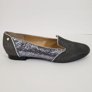 IMAN Women's Gray Leather Sequins Flats size 7.5W